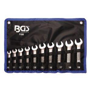 Kiintolenkkiavainsarja, jossa lyhyet kiintoavaimet 10 - 19mm BGS