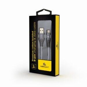 Punottu Lightning - USB kaapeli, 2.0 m, harmaa, Cablexpert pakkaus