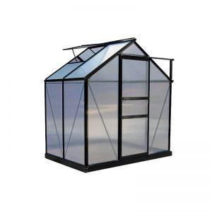 Kasvihuone 2,3 m² Green Land, musta alumiinirunko