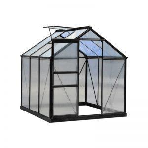 Kasvihuone 3,6 m² + sokkeli, Green Land, musta alumiinirunko